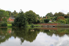 Polstead Pond and reflections. Polstead is a small village in Suffolk Stock Image
