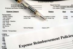 Políticas del informe del costo del empleado y del reembolso del costo Imagen de archivo libre de regalías