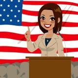 Político afroamericano Woman Flag Foto de archivo