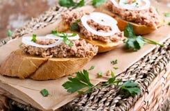 Poltiglia del tonno sui pani tostati Fotografia Stock Libera da Diritti