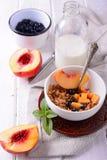 Poltiglia dell'avena e del Granola con i mirtilli freschi, Fotografia Stock
