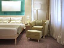 Poltrona con il poggiapiedi in hotel moderno Immagine Stock Libera da Diritti