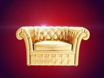Poltrona dell'oro rappresentazione 3d Fotografie Stock