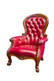 Poltrona di cuoio rossa di lusso isolata Fotografia Stock