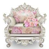 Poltrona di lusso barrocco Rich Furniture ha scolpito ornato Struttura del tessuto delle rose Progettazioni realistiche 3D di vet Immagine Stock Libera da Diritti