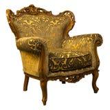 Poltrona dorata di lusso d'annata del sofà isolata su bianco fotografia stock