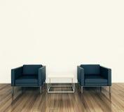 Poltrona e tadle interiores mínimos Imagens de Stock Royalty Free