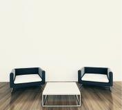 Poltrona e tadle interiores mínimos Fotografia de Stock Royalty Free