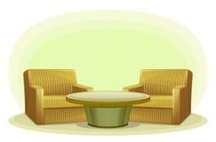 Poltrona e tavola Immagine Stock