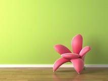 Poltrona a forma di del fiore di colore rosa di disegno interno Immagini Stock Libere da Diritti