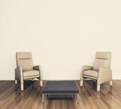 Poltrona interior moderna mínima Imagens de Stock