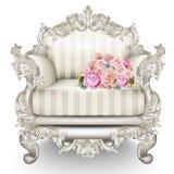 Poltrona luxuosa barroco Rich Furniture cinzelou ornamented Textura listrada da tela do vintage Projetos 3D realísticos do vetor ilustração stock