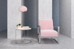 Poltrona rosa in salone concreto vuoto, tavola illustrazione vettoriale