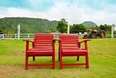 Poltrona rossa in terreno coltivabile Fotografia Stock Libera da Diritti