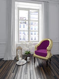 Poltrona roxa colorida em um interior do chique Fotografia de Stock Royalty Free