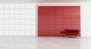 Poltrona vermelha no quarto moderno vazio Fotografia de Stock Royalty Free