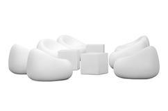 Poltronas brancas em um fundo branco Imagens de Stock