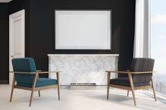 Poltronas pretas da sala de visitas, as azuis e as pretas Imagens de Stock Royalty Free