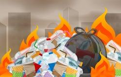 A poluição da incineração plástica em urbano, eliminação de resíduos do desperdício do lixo com queimado incinera, lixo da chama  ilustração royalty free