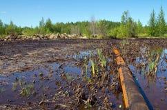 Poluição da natureza por produtos petrolíferos imagem de stock