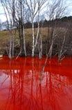 Poluição de água contaminada da mina de uma exploração da mina de cobre Fotografia de Stock Royalty Free