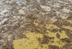Poluição de água do lago com sacos de plástico fotografia de stock