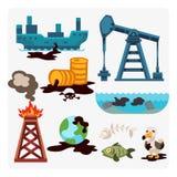 A poluição de óleo ambiental dos problemas ecológicos da destruição do desflorestamento do ar da terra da água dos animais mói fá Fotografia de Stock Royalty Free