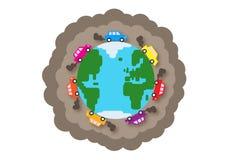 Poluição do tráfego do mundo ilustração stock