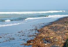 Poluição na praia do oceano tropical Fotografia de Stock
