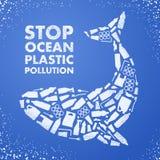 Poluição plástica do oceano da parada Poster ecológico Baleia composta do saco plástico branco do desperdício, garrafa no fundo a ilustração royalty free