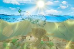 Poluição plástica no problema ambiental do oceano As tartarugas podem comer os sacos de plástico que confundem os por medusa conc fotografia de stock