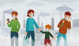 Polui??o do ar da cidade Poluentes da poluição atmosférica, ambiente do sufocamento e transmissor na ilustração do vetor das másc ilustração do vetor