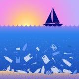 Polui??o pl?stica do oceano da parada Poster ecol?gico Por do sol, nascer do sol, barco e lixo Contraste l? s?o lixo pl?stico, sa ilustração stock