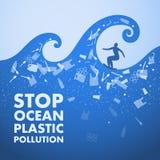 Polui??o pl?stica do oceano da parada Poster ecol?gico Surfista nas ondas e no texto Há um lixo plástico, garrafa, saco no azul ilustração do vetor