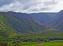 在大海岛的Polulu谷在夏威夷 免版税图库摄影