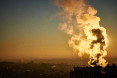 Poluted air and city in morning sunshine Stock Photography