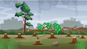 Polution theme with deforestation. Illustration Stock Photo