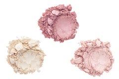 Polvere cosmetica isolata su bianco Fotografia Stock