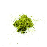 Polvere del tè verde di Matcha su fondo bianco Fotografia Stock