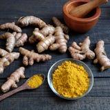 Polvere della curcuma, spezia, alimento sano Immagine Stock