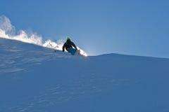 Polvere della neve e Freerider Fotografie Stock