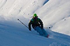 Polvere della neve e Freerider Immagine Stock