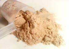 Polvere della proteina sul piatto Fotografie Stock Libere da Diritti