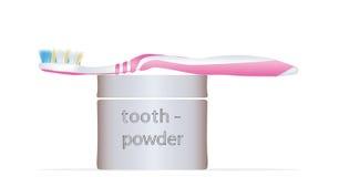 Polvere dentifricia e dello spazzolino da denti Fotografie Stock Libere da Diritti