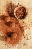 Polvere di cacao dei tartufi di cioccolato impolverata e setaccio Fotografia Stock