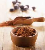Polvere di cacao in una ciotola fotografie stock libere da diritti