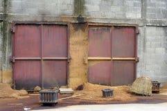 Polvere di legno in fabbrica Fotografia Stock