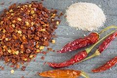 Polvere di peperoncino rosso, frutti e sale del peperoncino rosso Fotografia Stock