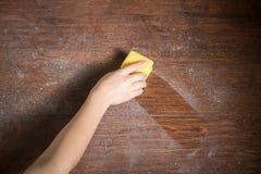 Polvere di pulizia dal legno immagine stock