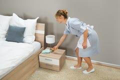 Polvere di pulizia della domestica con lo spolveratore della piuma fotografia stock